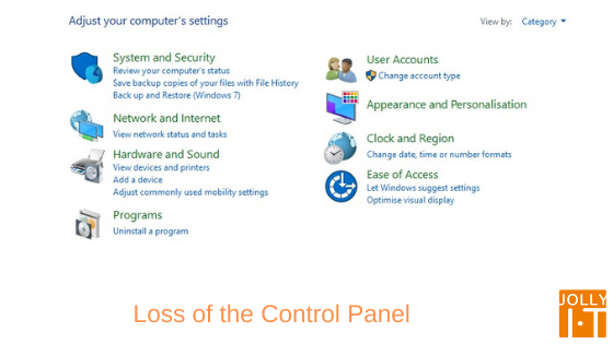 Loss of the control panel